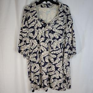 KS Island Leaf Pattern Hawaiian Shirt Size 6XL